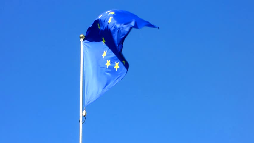 Flag of the European Union waving on the wind | Shutterstock HD Video #25243172