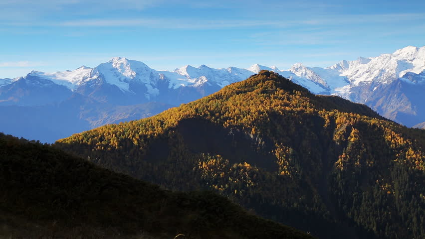 Scenic surroundings of main Caucasus ridge. Picturesque and gorgeous scene. Location place Mt. Ushba, Upper Svaneti, Georgia country Europe. Famous tourist attraction. Beauty world. Shooting HD 1080 | Shutterstock HD Video #25244369