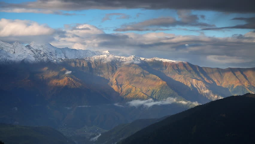 Fantastic massif in autumn season. Location place famous Mt. Ushba, Upper Svaneti Mestia, Georgia, Europe. High Caucasus ridge. Climate change. Explore the world's beauty. Shooting in HD 1080 video. | Shutterstock HD Video #25244396