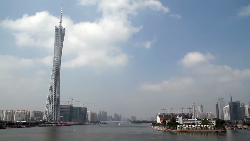 GUANGZHOU - OCTOBER 2: Time lapse of Guangzhou Pearl River and TV Tower, This