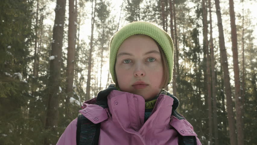 Young girl in the winter forest | Shutterstock HD Video #25299062