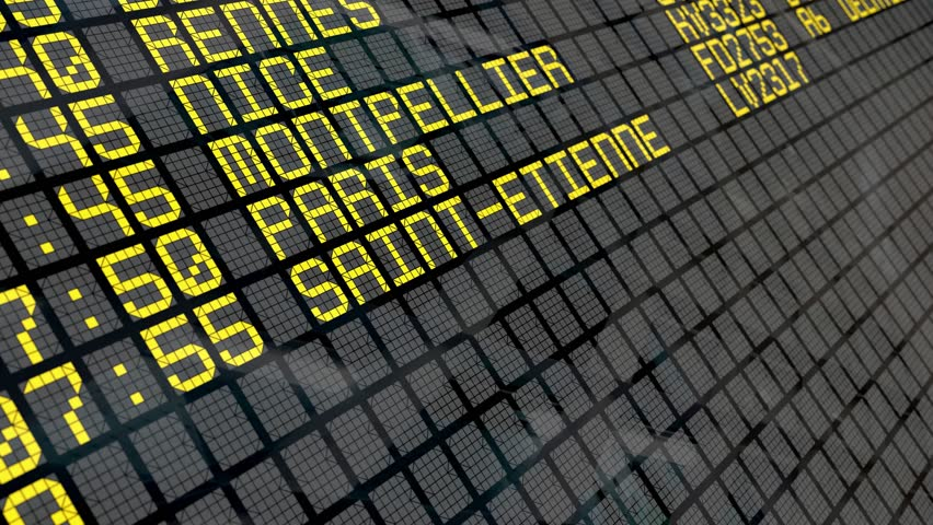 Close-up of an airport departure board to French cities destinations, with environment reflection.Part of a series. 4k video resolution (4096x2304).    Shutterstock HD Video #25322120