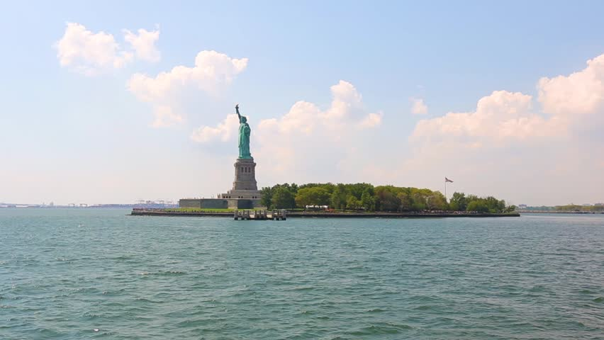 Statue of Liberty in New York from the river. Panoramic composition with text space on right side. Travel and landmarks concepts. | Shutterstock HD Video #25332749