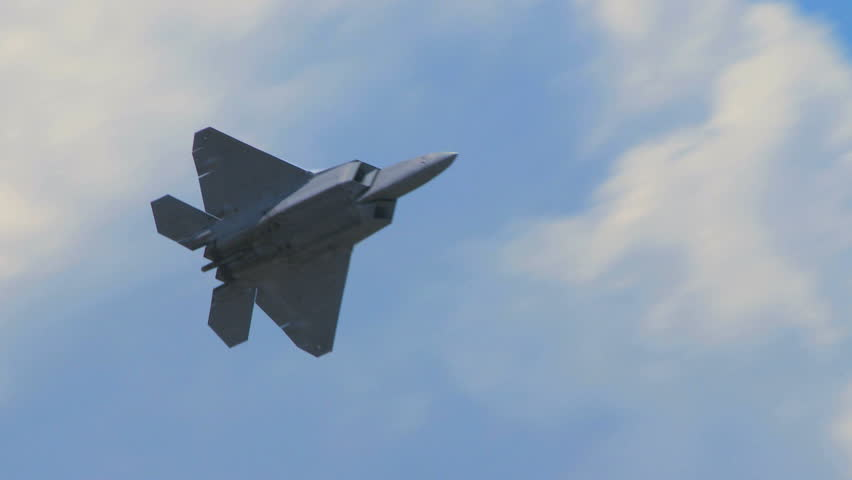 QUONSET, RHODE ISLAND - JUNE 2012: Air force F-22 Raptor at the Rhode Island National Guard Open House and Air Show in June 2012.