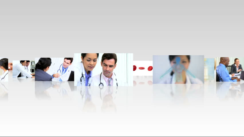 Montage 3D fly through images of medical consultants patients and practices used within a hospital - HD stock video clip