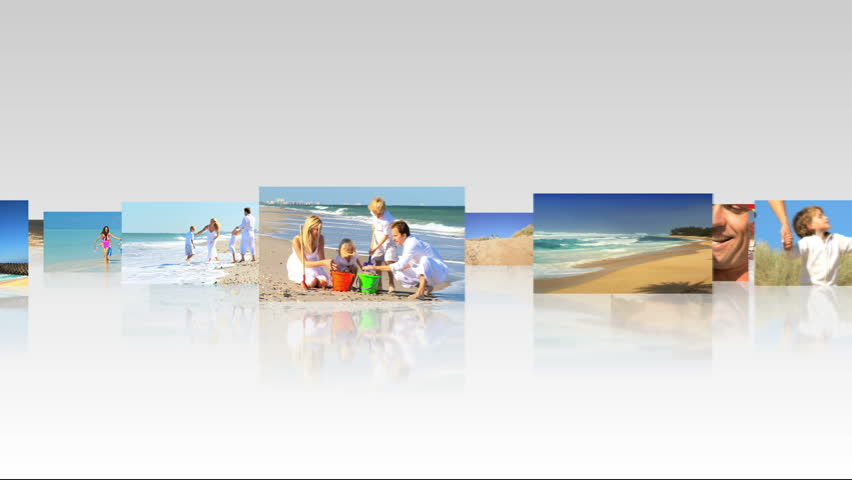 Montage collection 3D flat screen panel images young Caucasian family leisure time beach - HD stock footage clip