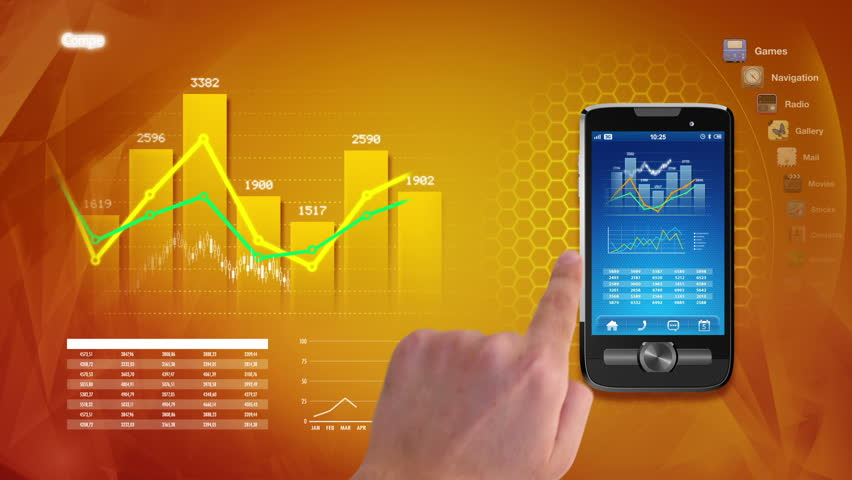 Hands using business applications on a touchscreen smart phone