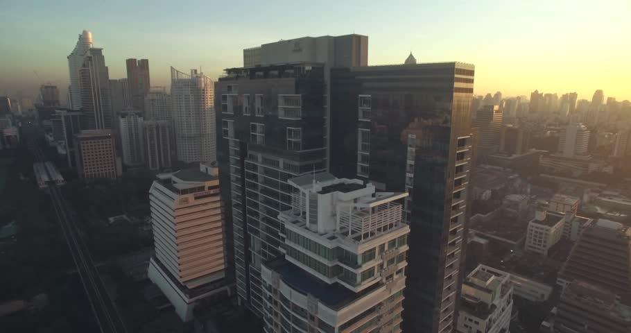 Bangkok City Center at Sunrise, Aerial Drone Cityscape | Shutterstock HD Video #25511813