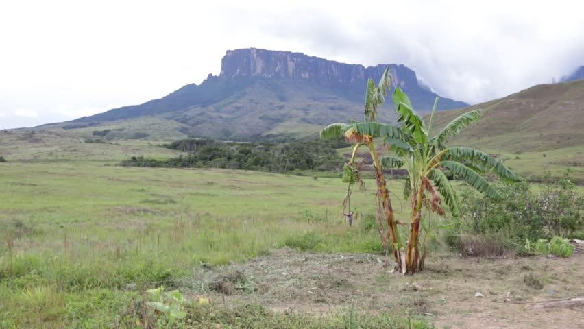 View of the tepui Kukenan - Canaima national park, Gran Sabana, Venezuela, Latin America - HD stock footage clip