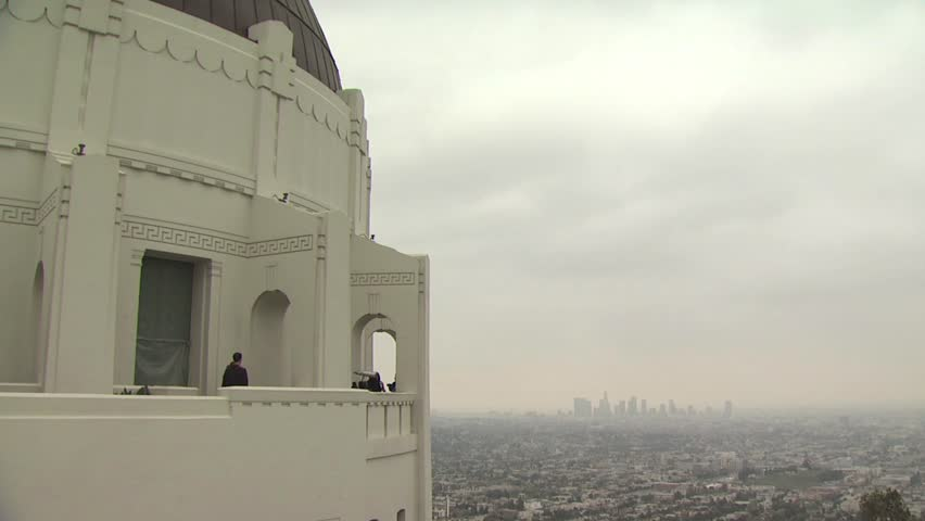 Ariel view of Los Angeles, California with an Old Church in the Forefront - HD stock footage clip