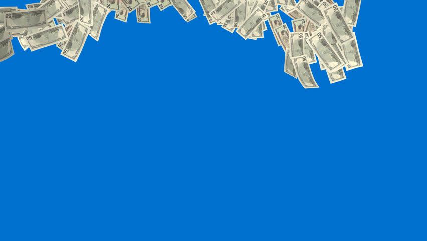 Money Falling On Blue Background. Finance 3d Animation ...