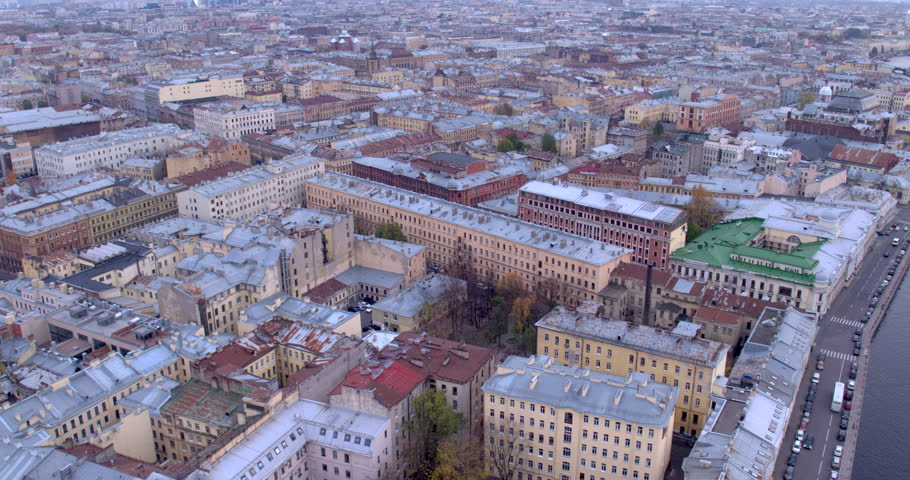 Aerial view of the roofs of Saint-Petersburg city. | Shutterstock HD Video #25744148