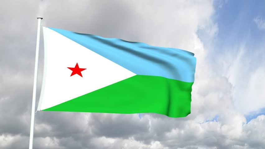 Flag of Djibouti - HD stock video clip