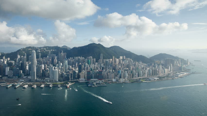 Aerial view over hong kong island looking towards victoria peak showing the | Shutterstock HD Video #25847108