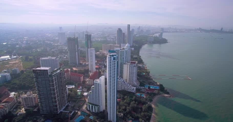 Descending Aerial View Over Wong Amat and Naklau Beaches, Pattaya, Thailand | Shutterstock HD Video #25864118