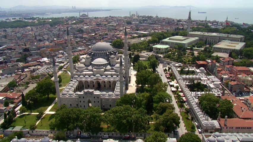 Suleymaniye Mosque in Istanbul from Sky