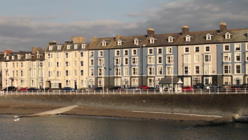 Aberystwyth beach and marine terrace stock footage video for 6 marine terrace