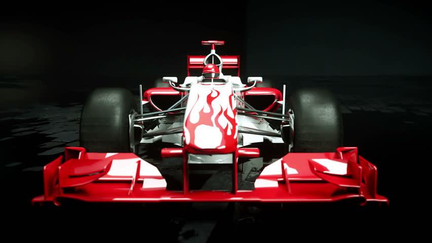 Race sport car in dark studio. realistic 4K animation.   Shutterstock HD Video #25925957