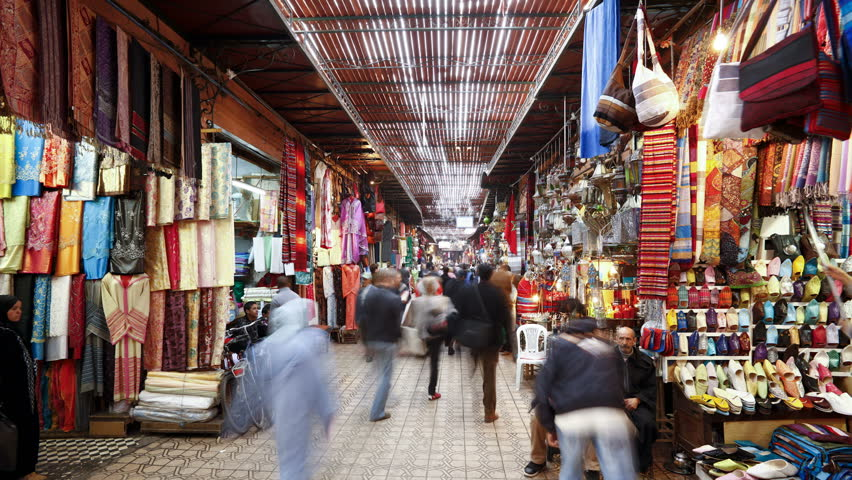 MARRAKESH, MOROCCO - CIRCA MAY 2011: Interior of the Souq showing a market and goods