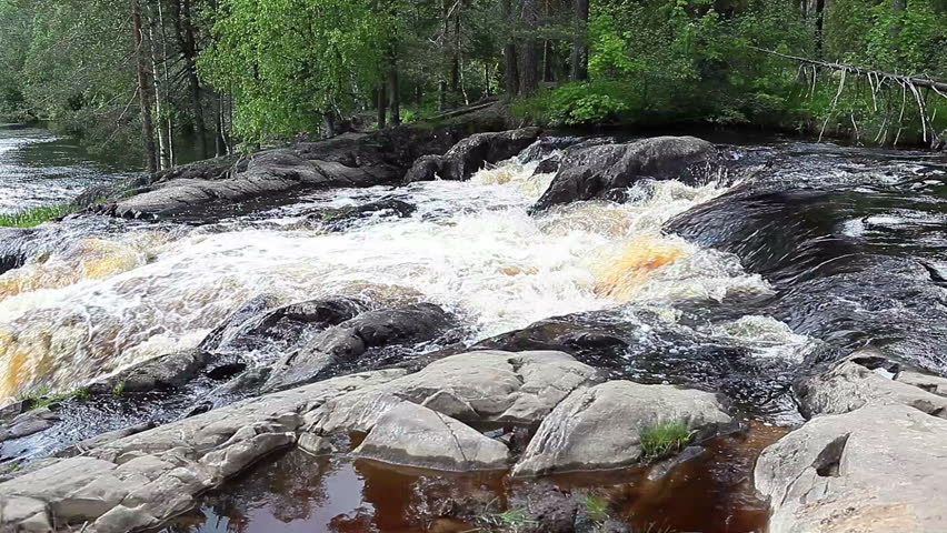 Ruskeala waterfalls - four lowland falls in Sortavala region on the river Tohmajoki in Ruskeala, Karelia, Russia - HD stock footage clip
