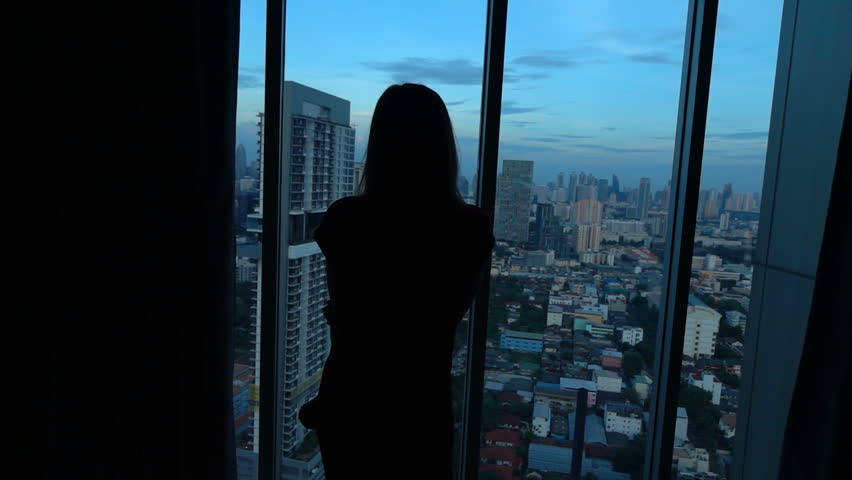 Silhouette of woman admire view form window at home  | Shutterstock HD Video #25988552