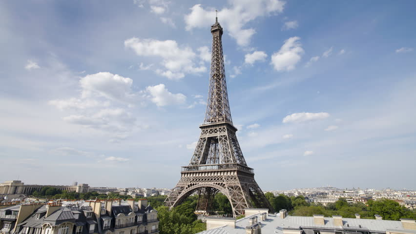 The world famous Eiffel Tower in natural light, Paris, France, Europe | Shutterstock HD Video #2601017