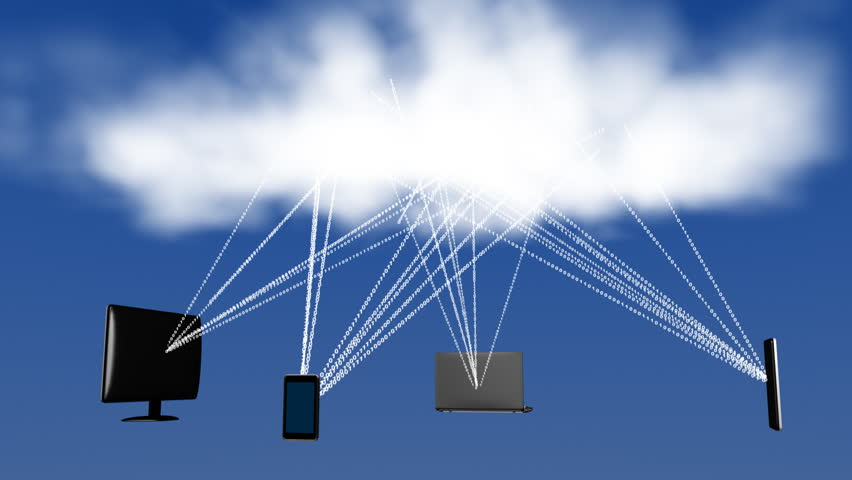 Data connections between a cloud and various devices. - HD stock video clip