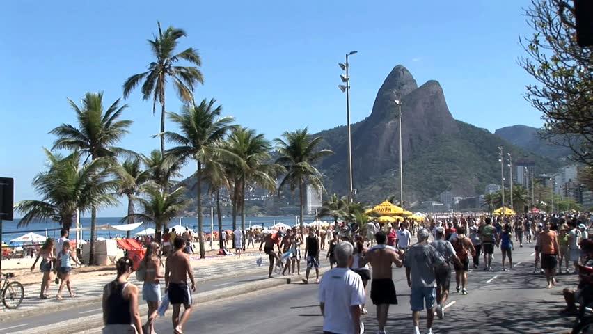 RIO DE JANEIRO, BRAZIL - CIRCA 2010: Crowded Beach Sidewalk In Rio De Janeiro, Brazil 6 - HD stock video clip