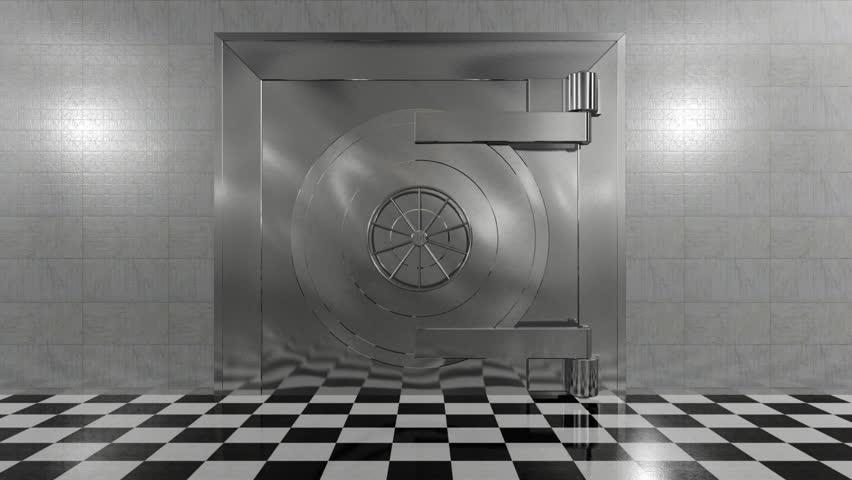 Huge bank vault door opens to reveal a stack of gold bars. - HD stock footage clip