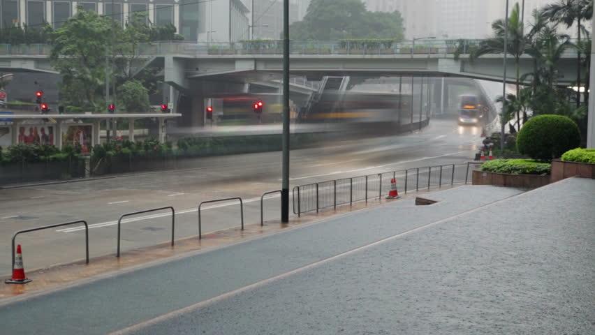 Hong Kong City. Heavy rain on the street. Car and bus traffic | Shutterstock HD Video #26096966