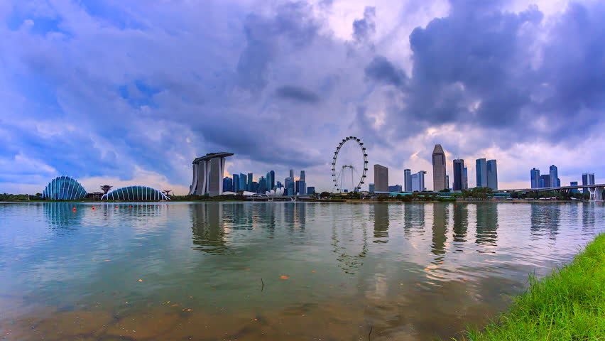4K.Time lapse The view water reflection of Singapore city | Shutterstock HD Video #26106416