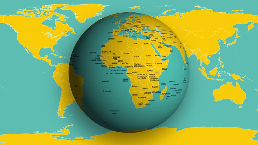 Loopable W/Alpha: Spinning Earth globe with political world map. Sliding map background., 3D, Animation. (av36143c) | Shutterstock HD Video #26116811