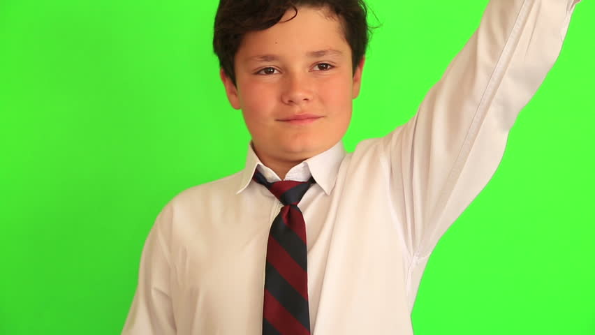 Elementary school boy receiving a trophy on chroma key green screen background | Shutterstock HD Video #26155421