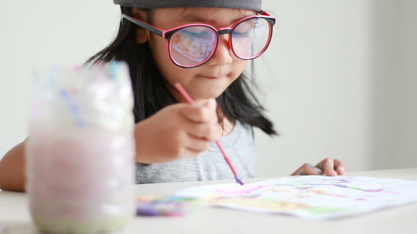 Close up shot asian little girl drawing and painting for art education concept  | Shutterstock HD Video #26165195