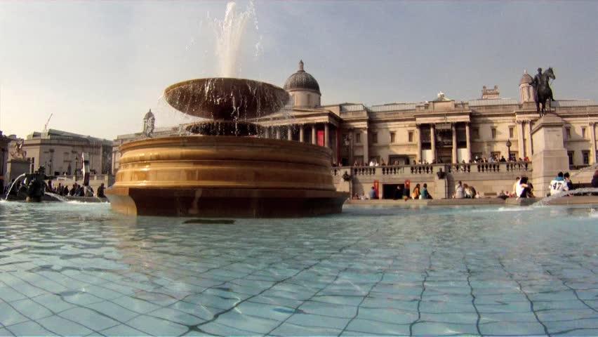 Water Fountain at Trafalgar Square, London, UK