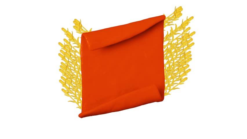 Orange ribbon with Plasticine wheat. Background for farm. Alpha matte. Clay animation. 4K   Shutterstock HD Video #26217629