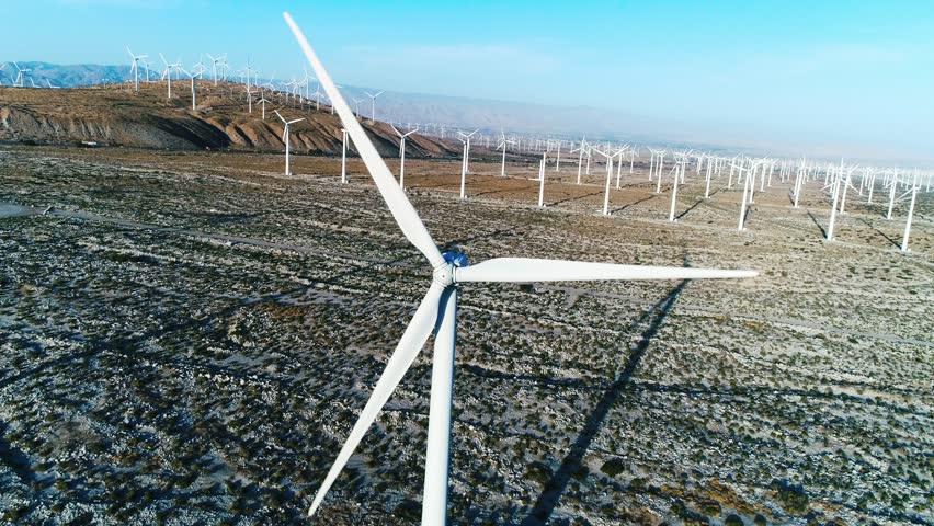 Alternative energy / Huge Windmills Farm / Aerial Drone shot / Slow motion | Shutterstock HD Video #26219105