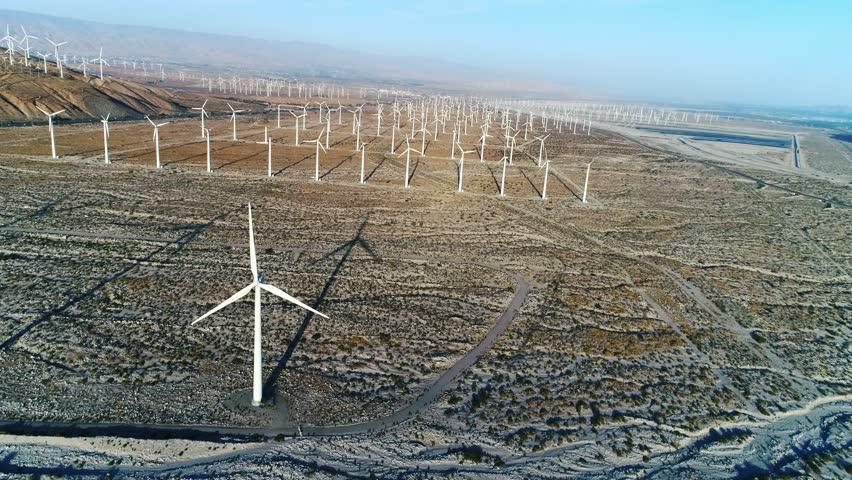 Alternative energy / Huge Windmills Farm / Aerial Drone shot / Slow motion | Shutterstock HD Video #26219123