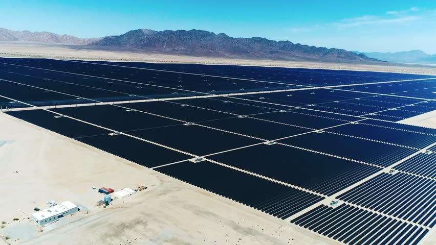 Sources of alternative energy / Huge fields of solar panels / the biggest solar farm in the world / Aerial Drone Shot / 4k Slow motion | Shutterstock HD Video #26219213