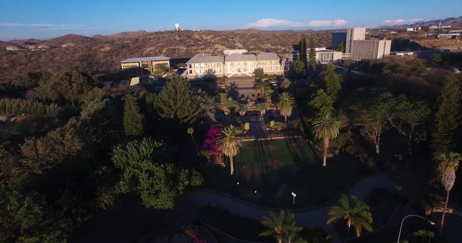 Aerial drone video with view of old historical fort in city center of Windhoek, other old buildings and church in town in central highland Khomas Hochland of Namibia, southern Africa | Shutterstock HD Video #26221436