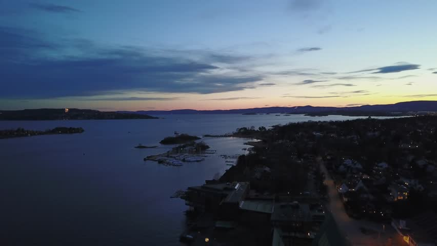 Aerial drone flying over Fram museum coast line on Bygdoy in Oslo, Norway | Shutterstock HD Video #26222624