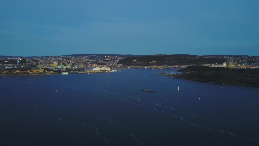 Aerial drone flying over Oslofjord in Oslo, Norway | Shutterstock HD Video #26222642