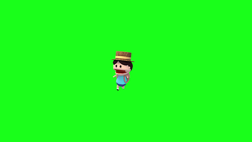 Looped 3D cute traveler in walking pose animation. Green screen chroma key background. Animated cartoon walk cycle loop. Concept of summer vacation and outdoor recreational activities. | Shutterstock HD Video #26224442