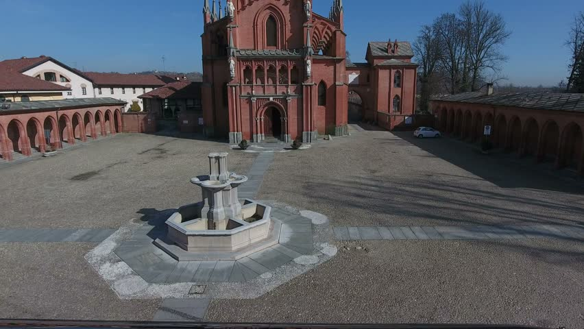 Aerial shot about historical church of piedmont piemonte in Pollenzo, famous for the university of taste / aerial shot about historic landscapes of piedmont / POLLENZO, ITALY – FEBRUARY 16 2017   | Shutterstock HD Video #26224766
