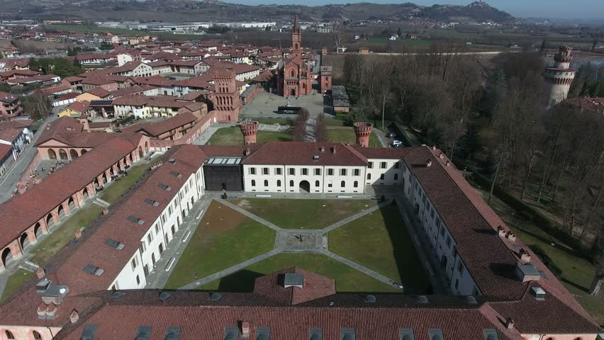 Aerial shot about historic landscapes of piedmont in Pollenzo, famous for the university of taste / aerial shot about historical buildings of piedmont piemonte / POLLENZO, ITALY – FEBRUARY 16 2017  | Shutterstock HD Video #26224775