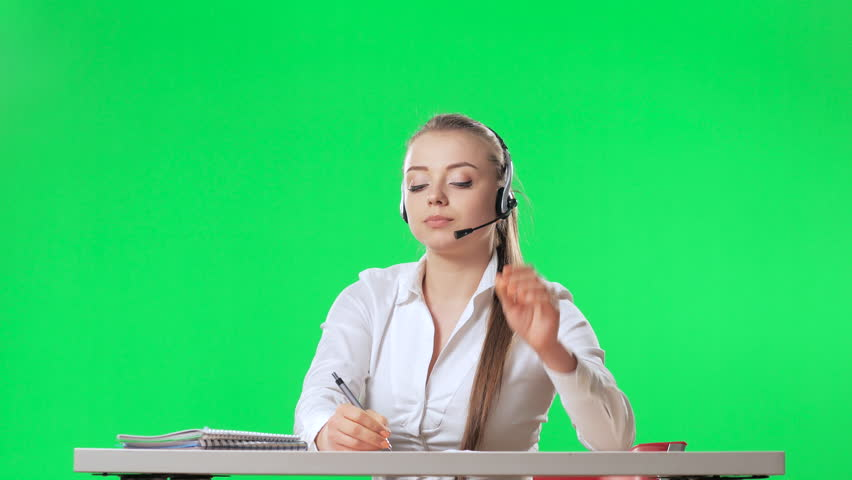 The secretary threw her legs on the table and threw the paper, green screen, alpha   | Shutterstock HD Video #26225531