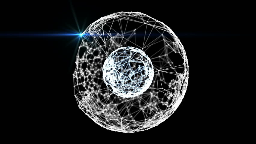 Animated abstract concentric two spheres formed by plexus connected white dots and blue lines and light. Shallow depth of field settings. Beautiful organic motion. 3D rendering. | Shutterstock HD Video #26226629