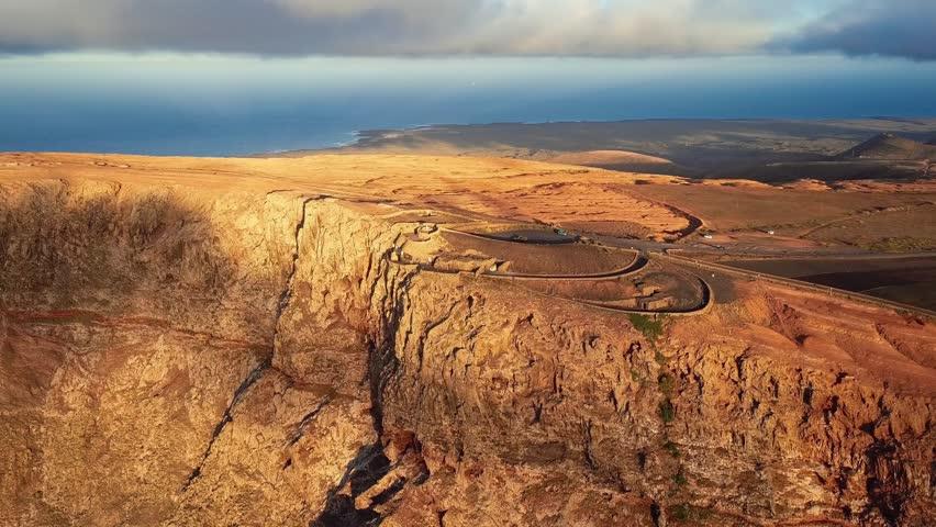 Aerial view of Mirador del Rio viewpoint, Lanzarote, Canary Islands, Spain | Shutterstock HD Video #26227232