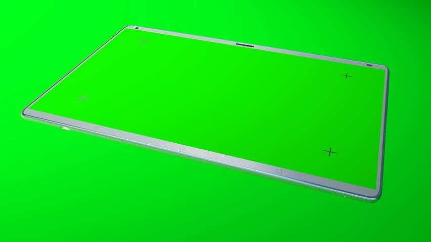 White tablet computer with isolated green screen on green background | Shutterstock HD Video #26230706