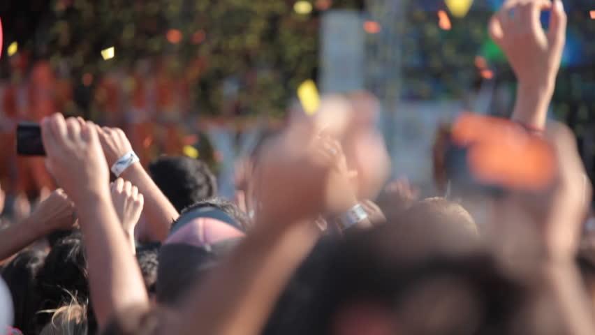 People enjoying open air rock concert